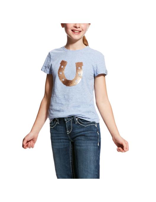 Ariat Girls T-Shirt Shoe Heather powder blue