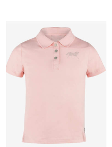 Horze Erin JR Cotton Polo Shirt powder pink
