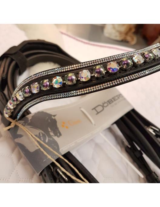 Döbert Trense Classic flach, engl. RH, schwarz mit Swarovski + Perlen