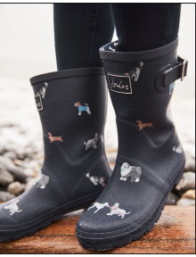 Joules Rubber Boots Molly Welly, Black Cat Dog