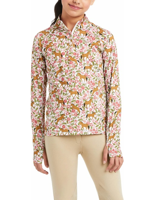 Ariat Langarm-Shirt Kinder Lowell 2.0 1/4 Zip Sea Salt Floral